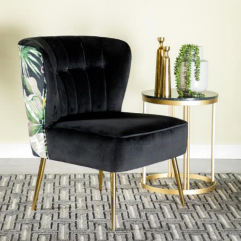Flower Printed Accent Chair