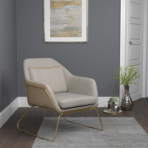 Beige and Gold Accent Chair