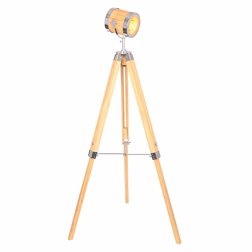 "WOOD 55"" ADJUSTABLE TRIPOD FLOOR LAMP, NATURAL - K"
