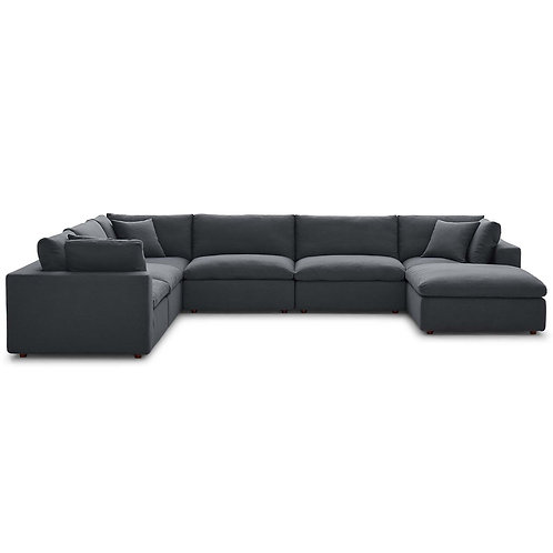 Commix Down Filled Overstuffed 7 Piece Sectional Sofa Set in Gray