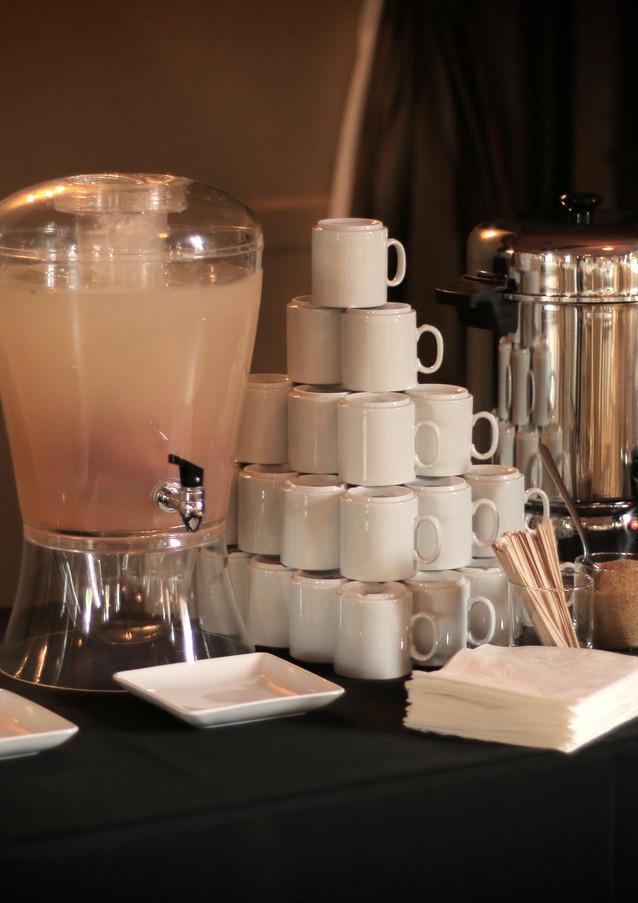 Water, Strawberry Lemonade & Coffee