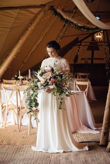 gorgeous large trailing modern wedding bouquet
