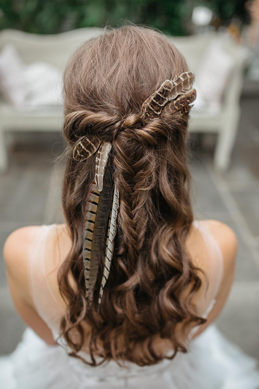 boho wedding hair ideas long hair feathers