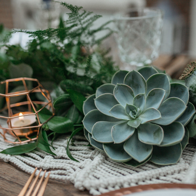 succulents and copper wedding styling