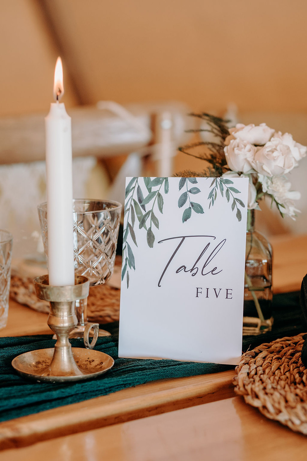 green and white wedding table number