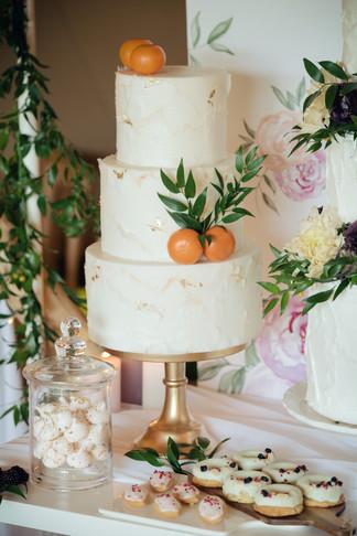 gold and orange wedding cake