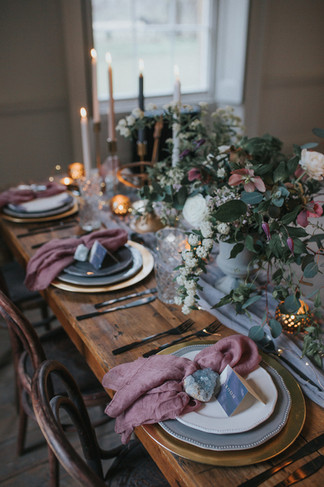 mauve and grey wedding styling