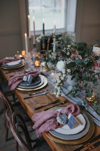 mauve and grey wedding styling