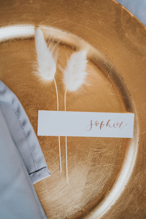 calligraphy place names with gried bunny tail floral sprigs