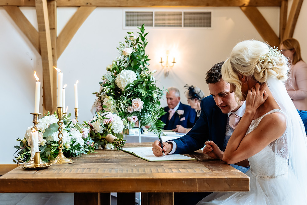 blush pink wedding mythe barn