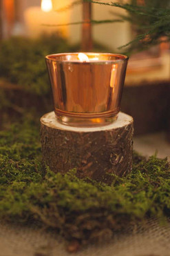 woodland wedding copper luxe moss table decorations