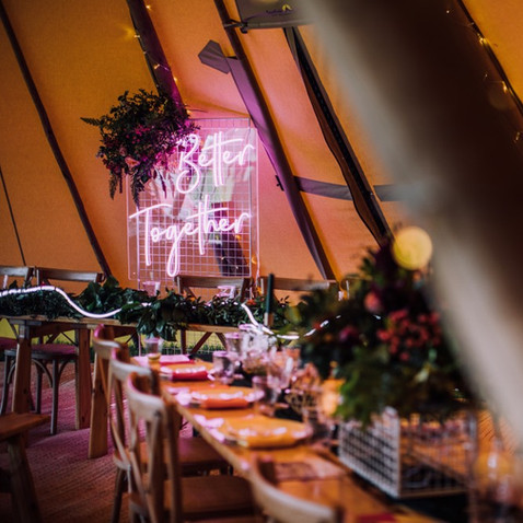 better together sami tipi neon sign backdrop