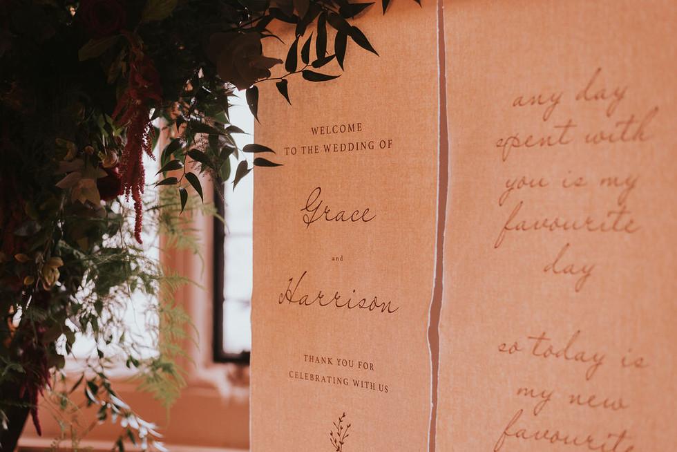 linen scroll wedding signage