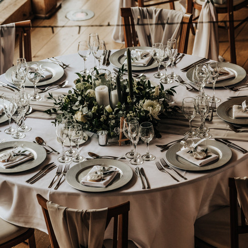 round silver and grey wedding the mill barns