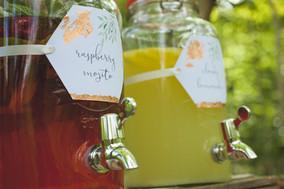 woodland wedding drinks station