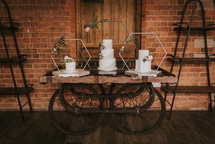hexagonal cake stand rustic cart