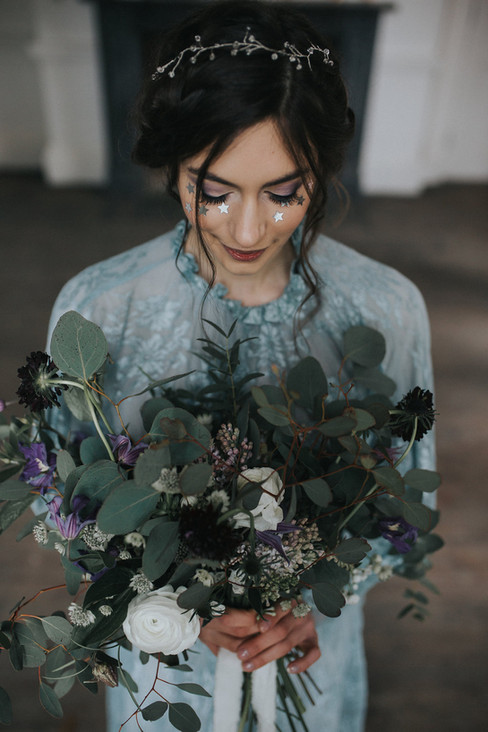 beautiful wedding flowers purple large bouquet