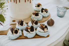 wedding day desert table with dusky blue colour scheme