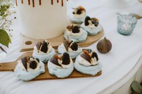 wedding day desert table with dusky blue colour scheme