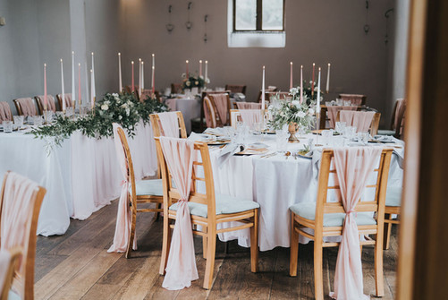 blush pink chair drapes and chair decor