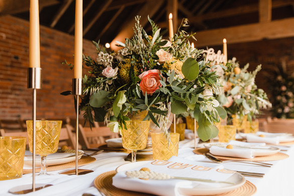 yellow wedding glassware