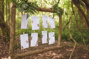 woodland wedding table plan copper leaf
