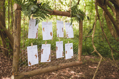woodland wedding table plan copper leaf