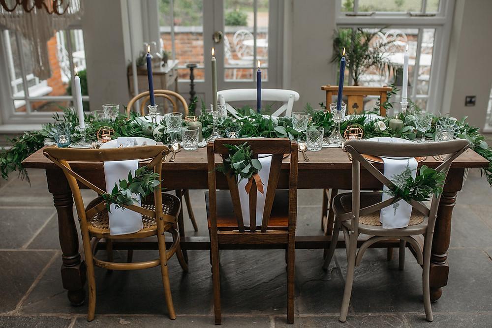 greenery wedding table foliage garland