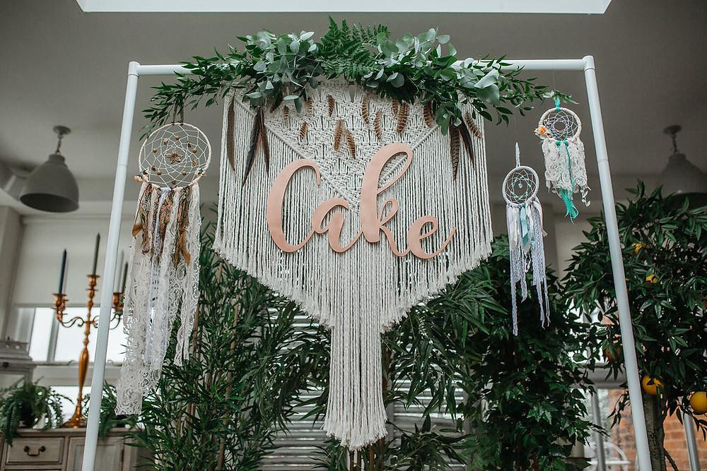 Macrame Cake Backdrop with Foliage