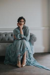 blue wedding dress couture