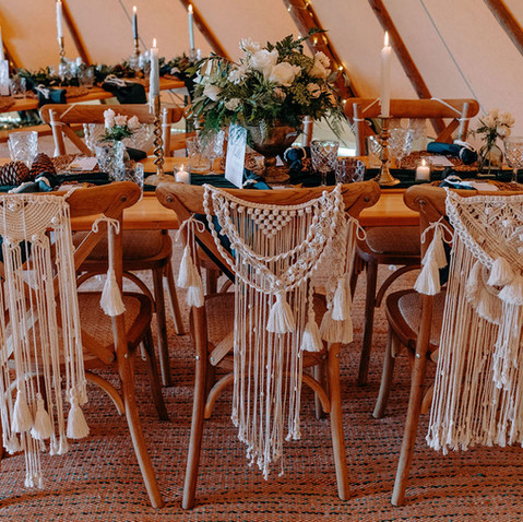 MACRAME CHAIR BACKS TIPI WEDDING