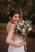 blue bridal flroal bouquet