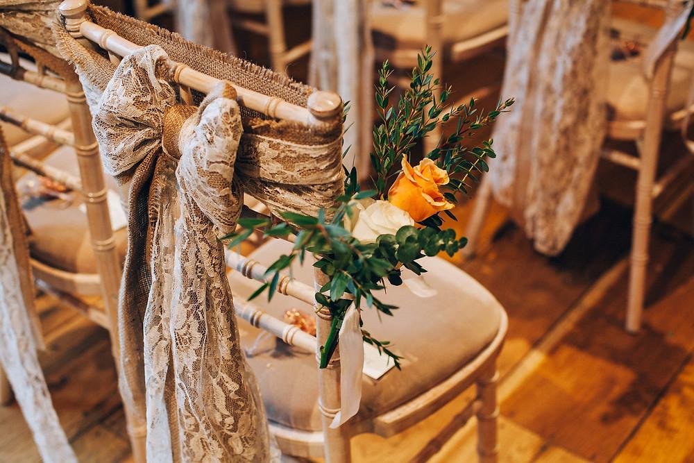 rustic wedding chair decor hessian sash
