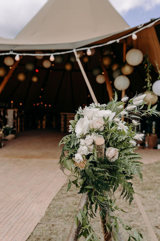 tipi entrance florals