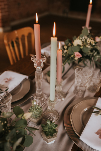 glass candlestick hire