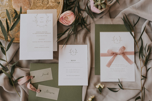 olive green wedding invitations