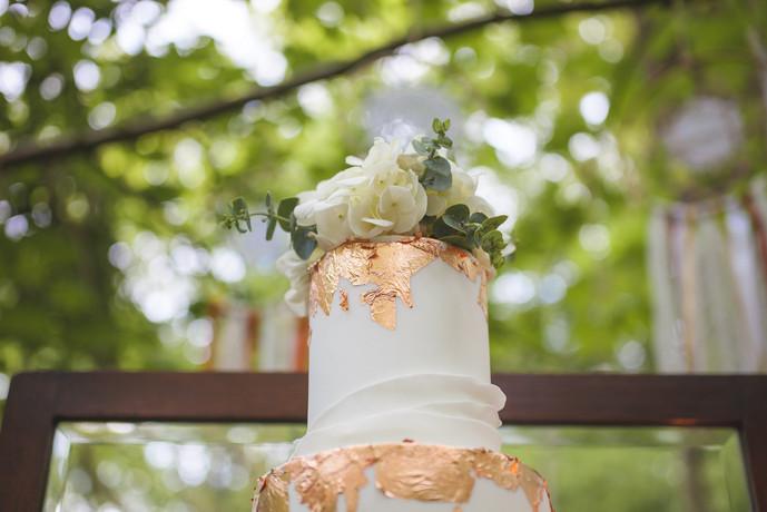 woodland wedding copper luxe wedding cake