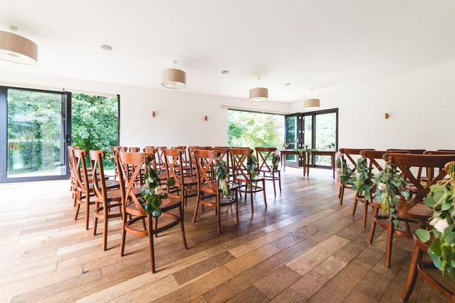 Hothorpe Hall Woodlands Wedding indoor ceremony area