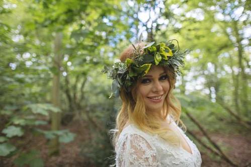 woodland wedding flower crown foliage greenery
