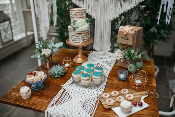 macrame cake table sweet treats macarons
