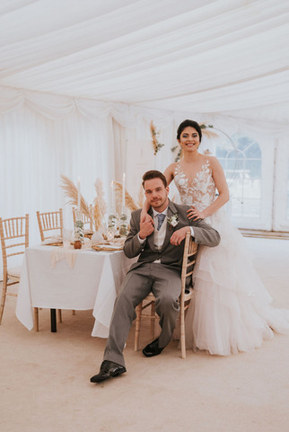 pampas grass marquee wedding