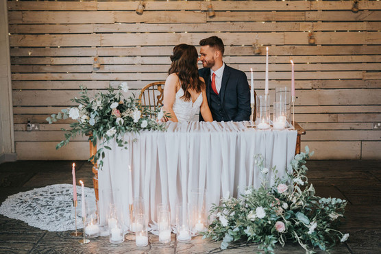 wedding ceremony ideas for grey wedding with blush pink flowers and candles