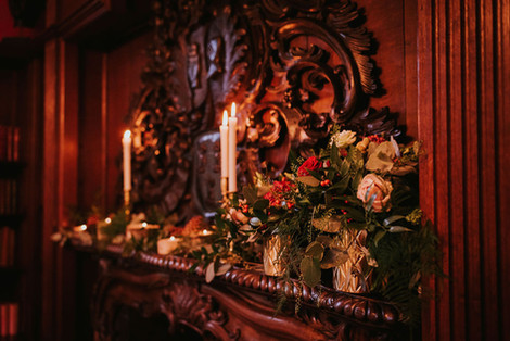fireplace florals at weston hall