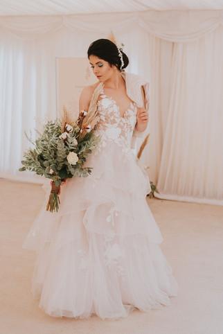 lace and ruffle wedding dress