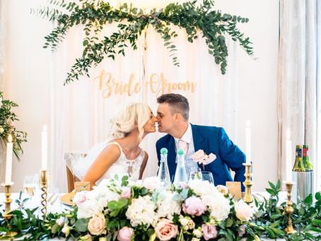 Charley & Paul - A Blush Pink Wedding: Mythe Barn Wedding Venue