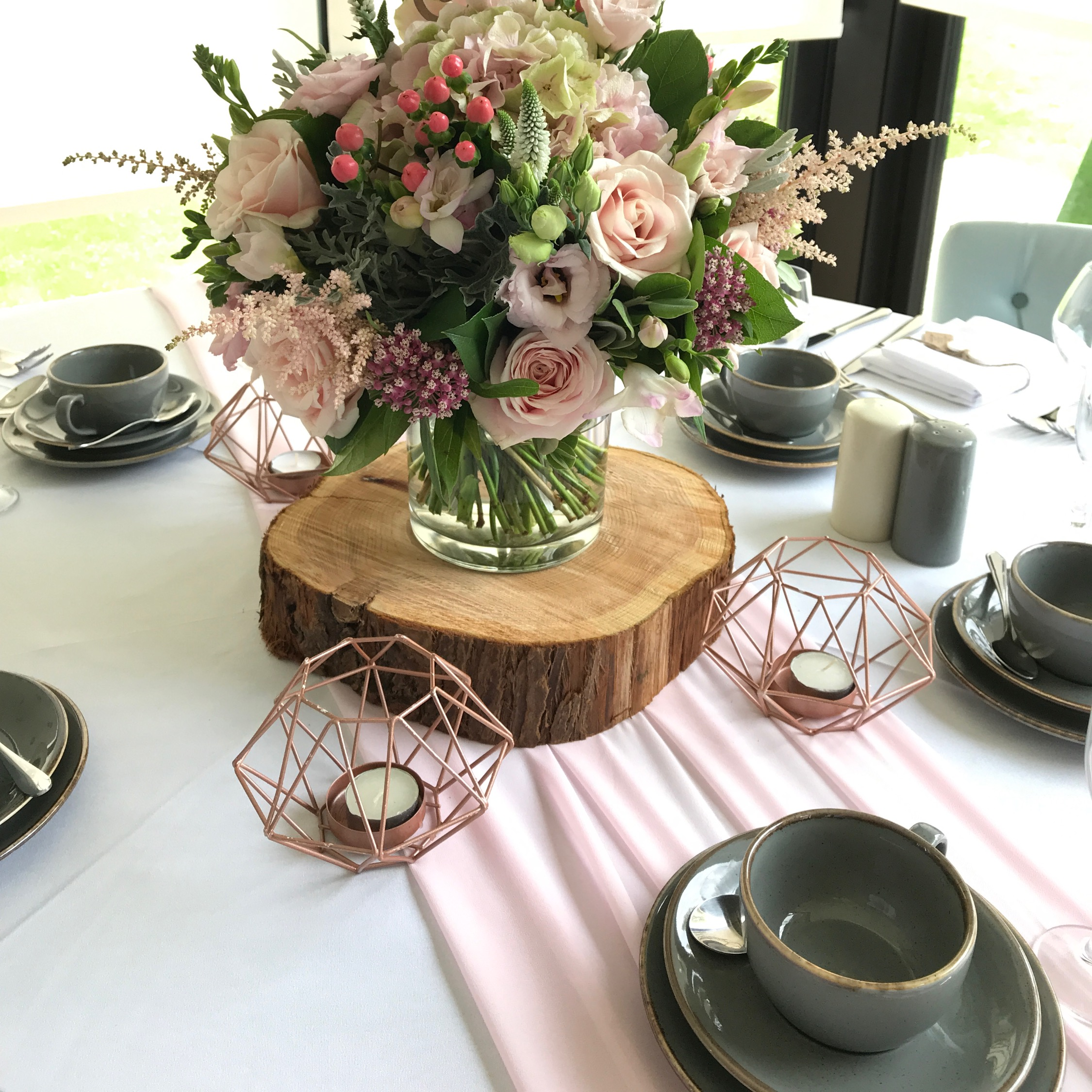 BLUSH PINK CHIFFON TABLE RUNNER