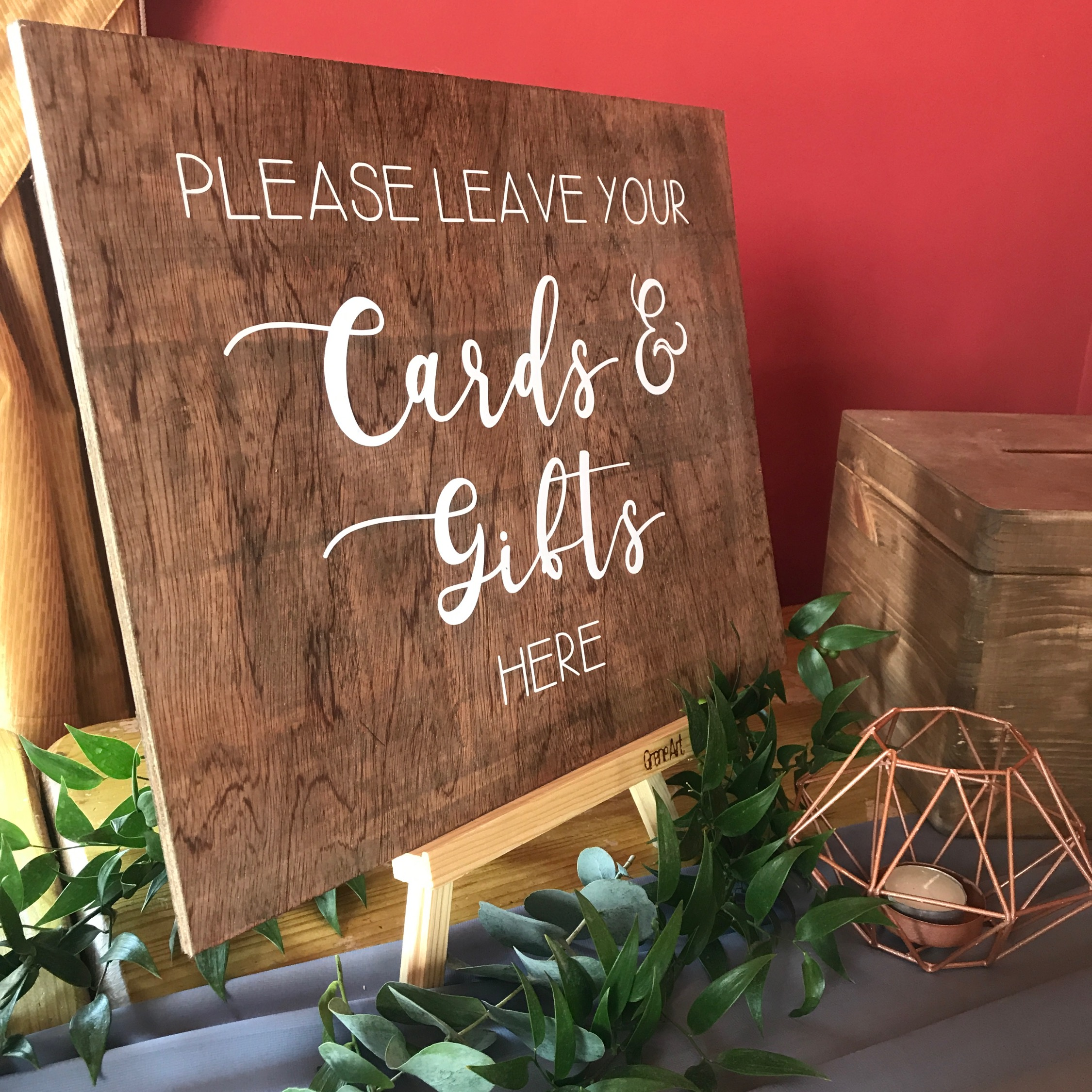 A4 WOODEN CARDS & GIFTS SIGN