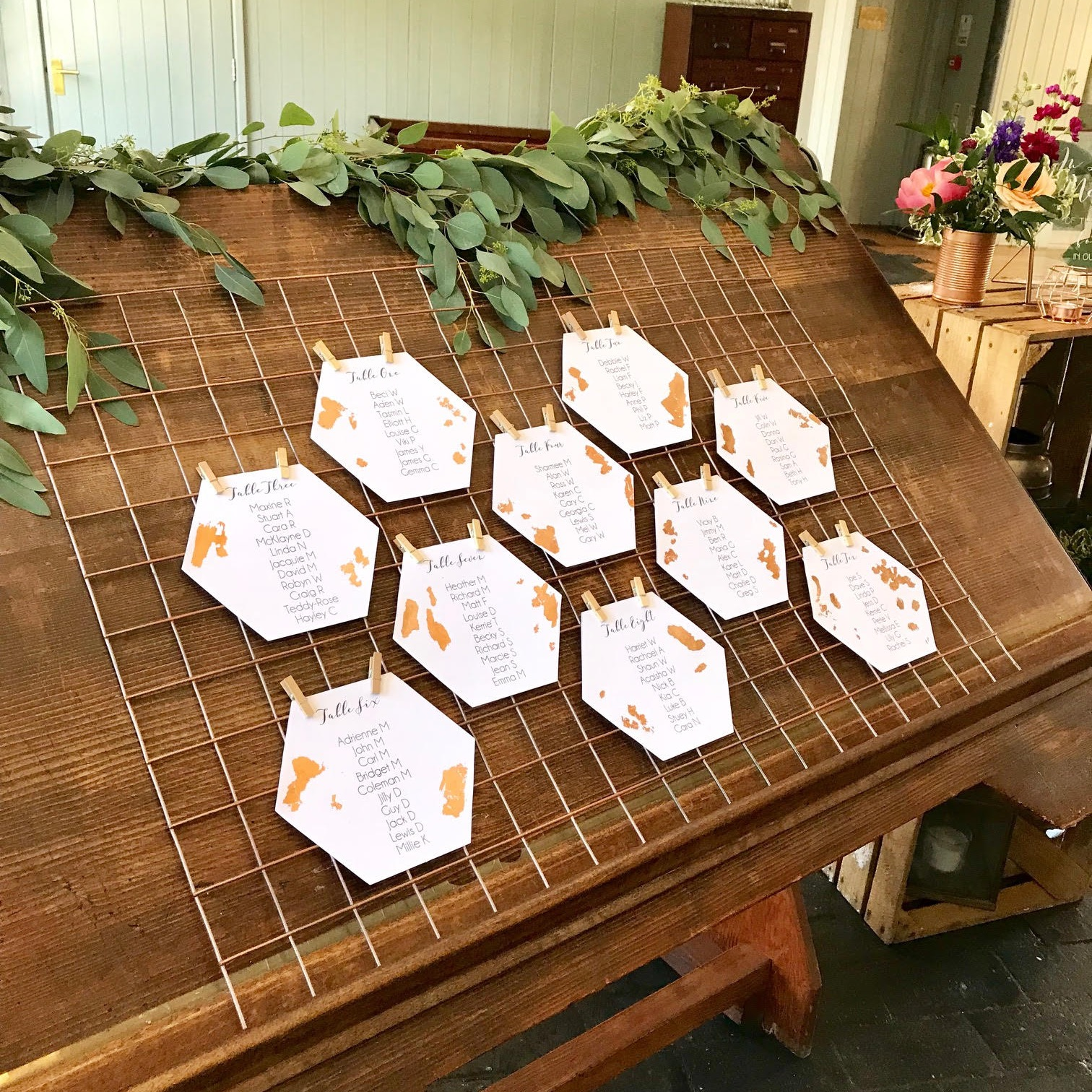 HEXAGON COPPER WIRE TABLE PLAN