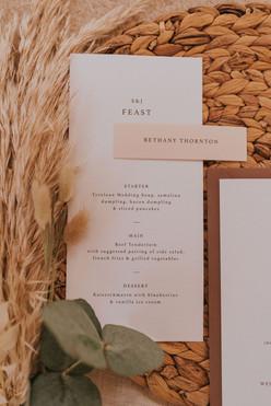 simlistic wedding on the day menu