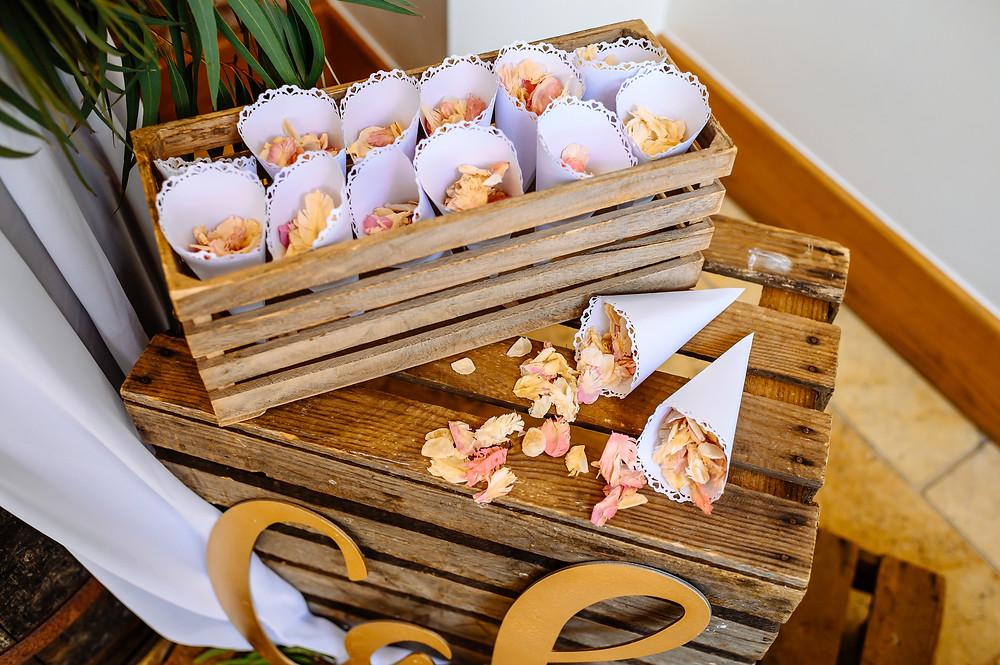 blush pink confetti real petals